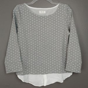 Per Se polka dot layered light sweatshirt gray